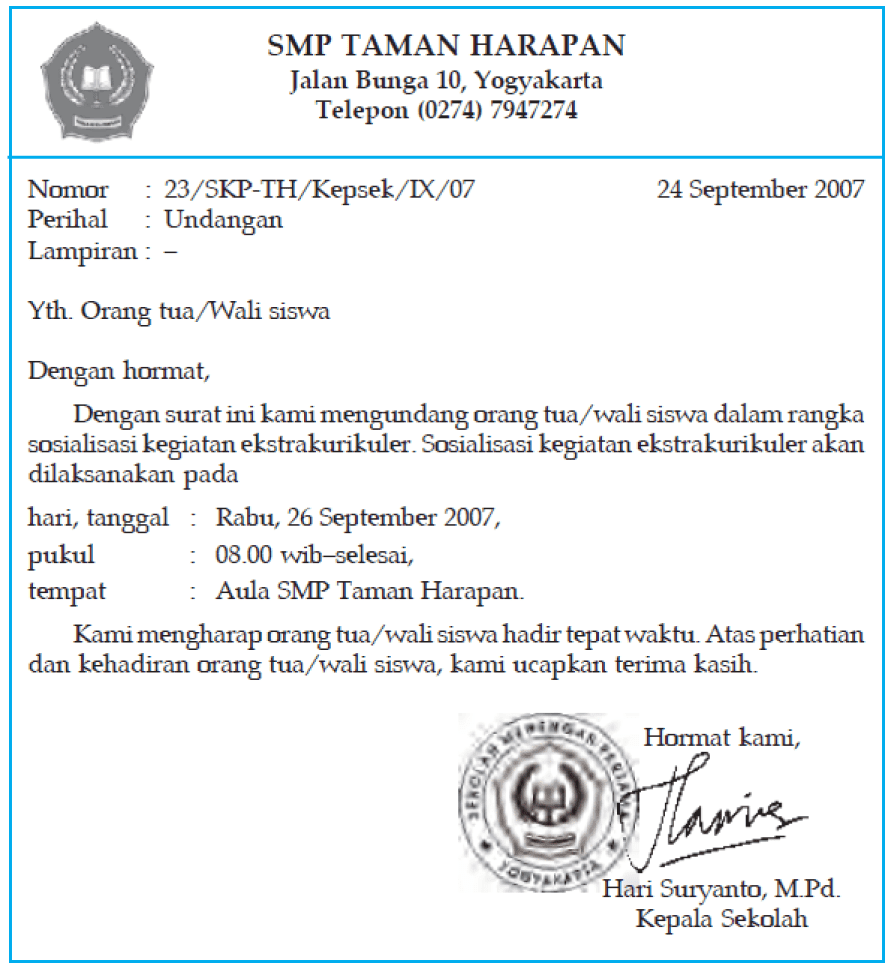 Contoh Surat Dinas Sekolah Smp Kelas 7 Nusagates